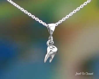 "Sterling Silver Tooth Necklace with 16-24"" Chain or Pendant Only Molar"