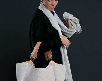 Mara Bag, beige felt bag, felt and leather bag