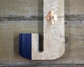 BOOK LETTER J cut from Reader's Digest for shelf or wall, wedding gift, teacher gift, monogram, vintage, cut book, recycled books,