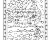 Christmas coloring page - Xmas Gingerbread House - Christmas Treats Holiday Coloring Book - Adult Coloring Page