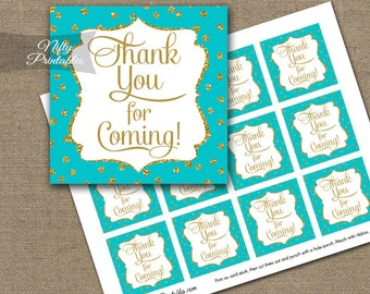 Thank You Favor Tags - Printable Turquoise Gold Thank You For Coming Tags - Aqua Gold Baby Shower Bridal Shower Birthday Decorations - GDT