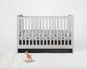 Straight Crib Skirt - Kona Cotton - Black. Baby Bedding. Crib Bedding. Crib Skirt. Black Crib Skirt.