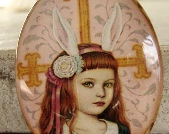 Rabbit Girl Glass Cabochon 30z 40mm