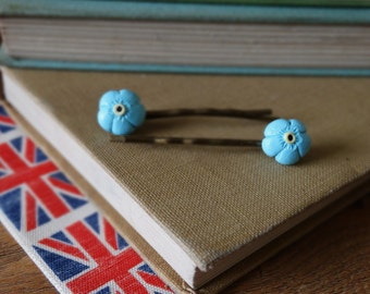 By the Shed Forget me Not Blue Flower Hairgrips - Garden, Gardening, Gift, Present, Jewellery - Floral - Hairslides, Bobby Pins, Kirby Grips