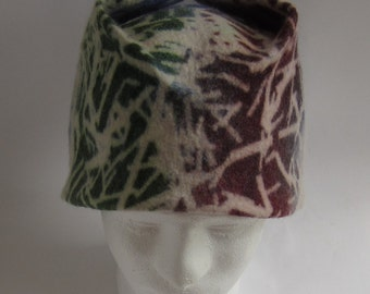 Screen printed, green, red, blue and white felted wool box hat