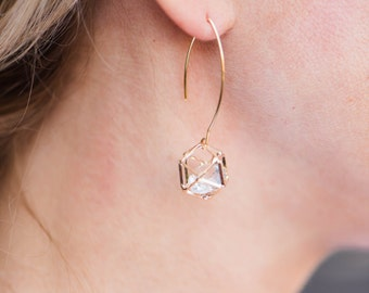 Geometric Caged Prism Drop Earring // Gold Dangle Earring // Gold Drop Earring // Gold Disco Earring // MEGAN Earrings