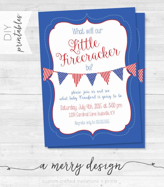 May The 4th Be With You Invitations: Fourth Of July Gender Reveal Party Invitations What Will Our
