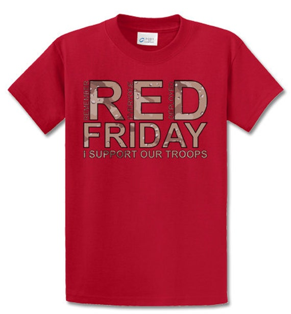 Items similar to desert camo print red friday i support for Red support our troops shirts