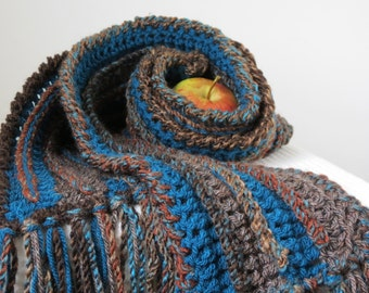 Long Wool Scarf Brown Winter Scarf Teal Blue Scarf with Fringe, Gifts for Men, Women's Winter Accessories Earth Tones Woodland Colors