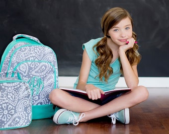 Personalized Gray & Green Parker Paisley Backpack and Insulated Lunch Tote Set * Embroidered Bookbag and Lunch Bag with Name or Monogram
