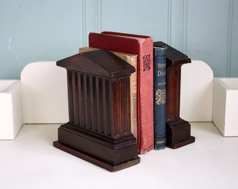 Solid Wood Bookends Parthenon Book Ends Shabby Decor