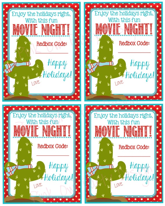 Printable Redbox Gift Tag Enjoy The Holidays Right With
