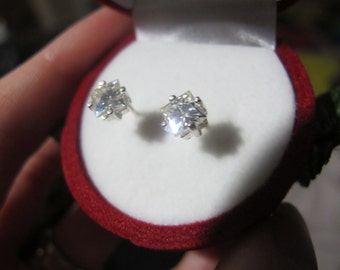 Gold Moissanite Earrings, Princess Cut Moissanite Gold Studs