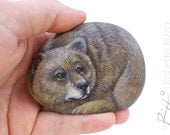Irresistible Brown Bear Painted on A Sea Pebble | Rock Art by Roberto Rizzo