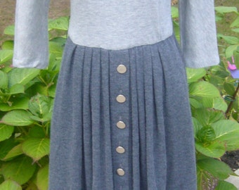Vintage Stuart Alan, Puffy Shoulders, 80's Two Tone Grey, Knit Dress.
