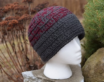 Hat - gray and maroon