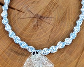 Blue & White Glow-In-The-Dark Stingray Hemp Necklace