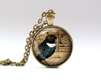 Animal necklace Steampunk jewelry Bird pendant SNW21