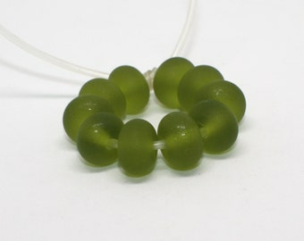 Set of 10 Etched Green Olive Rondelles Spacer Beads - 8, 10, 12 mm - Matte Beads - Handmade Lampwork Glass Beads - MorettiEffetre 025E