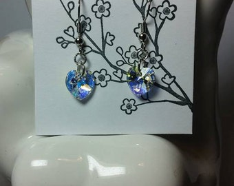 Handmade Heart Shaped Swarovski Crystal Earrings