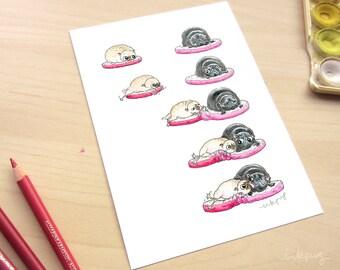 Sneaky Kiss Pugs art - Pug love wall art, pug illustration, pug wall art, fawn and black pug dog decor, pug print with two pugs by Inkpug