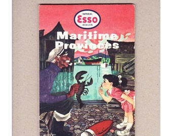 1957 Esso Maritime Provinces Vintage Road Map. Imperial Oil Company