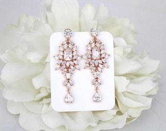 Long Bridal earrings, Rose Gold Wedding earrings, Chandelier earrings, Wedding jewelry, Crystal earrings, Statement earrings, Emerald cut