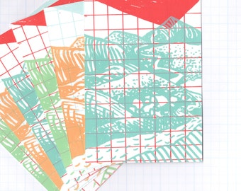 set of 6 postcards--screenprinted mountains and grid--3 color combos