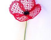 Little Poppy - a bobbin lace PDF pattern. Instant download. 3D lace flower.