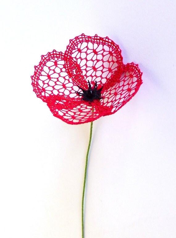 Little Poppy a bobbin lace PDF pattern Instant download 3D