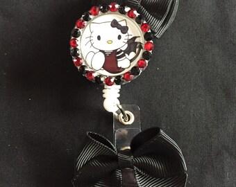 Little Devil Hello Kitty Retractable Badge Holder
