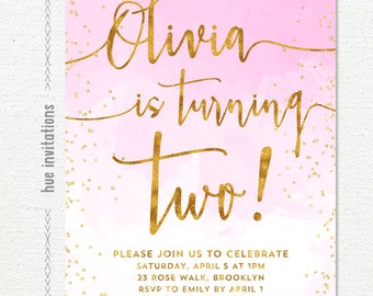 TWO! girls 2nd birthday party invitation, pink watercolor ombre and gold glitter confetti, turning two customized digital party invitation