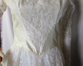 SALE! Wedding Dress Bridal Gown Candlelight Satin Lace Mid-Century Bridal Gown 1950 Wedding Dress  1960 Bridal Gown