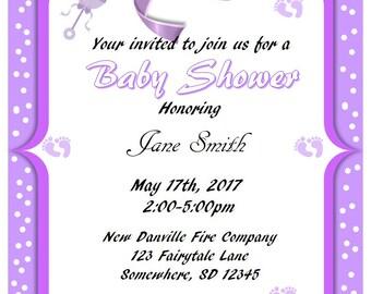 Printable Purple w/Polka Dots Baby Shower Invitations