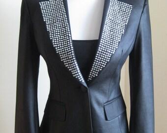 Vintage Black Tuxedo Jacket/40s Jacket/Show Jacket/Liza Black Jacket Rhinesontes/80's does 40s Blazer Jacket