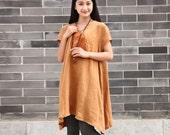 Linen dress Cotton Blouse Casual loose dress Summer long blouse Plus size dress Large size dress plus size clothing Women Dresses