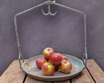 Vintage Brass Produce Scale Basket, Rustic Hanging Scale Pan
