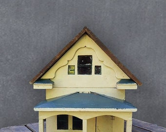 Vintage Handmade Folk Art Farmhouse, Putz Doll House Made From Explosive Crates