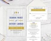 Rustic  Printable wedding invitation suite  Modern rustic  Wedding invitation suite template  Editable color & text  you print  FEWS  T69