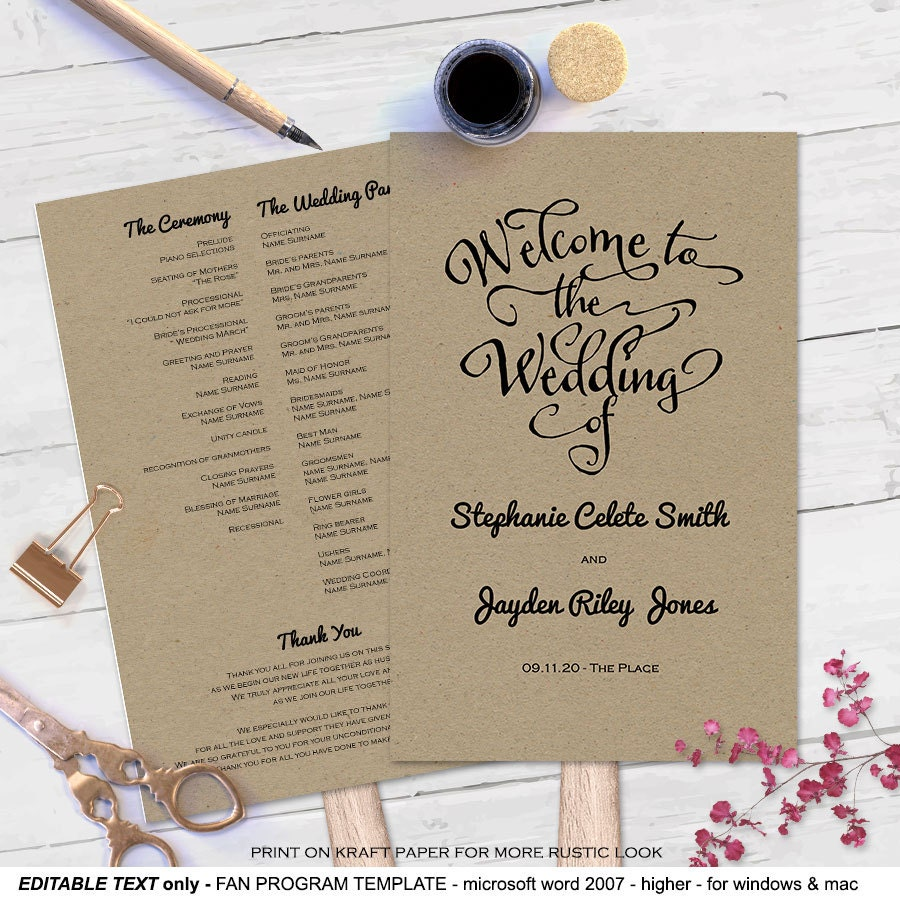 Modern Rustic DIY Wedding Program Fan Template Program Fan