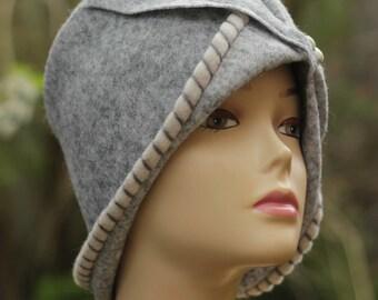 Hats for women gray Wool Hat Winter Hats Womens Winter Wear Cloche Hat ladies hats felt hat gray Winter Beanie handmade Hat women clothing