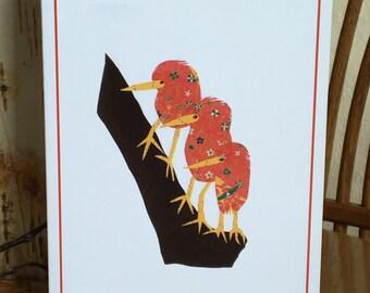 Red Birds, Bird Card, Bird Art, kiwi bird, cut paper art, whimsical