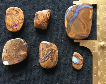Large Australian Boulder Opals - Unique Fire Yowah Cabochons approx 18mm - 26.5mm