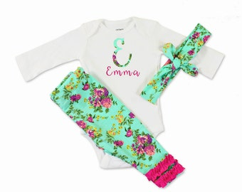 Personalized Baby Clothes - Floral - Baby Clothes - 3 Piece Set