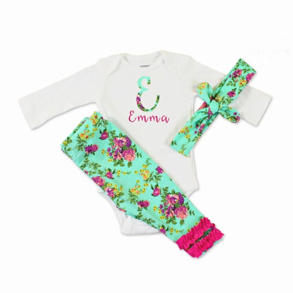 personalized baby clothes floral baby clothes 3