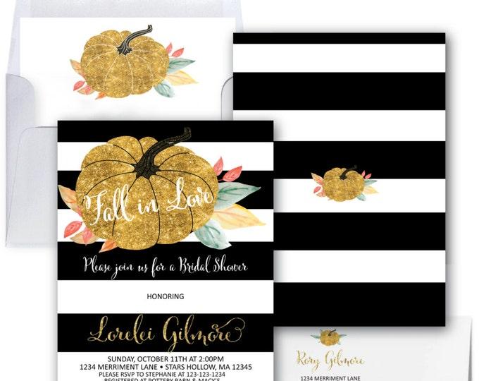 Fall In Love Invitation // Pumpkin Bridal Shower Invitation // Gold Glitter // Black and White // Bridal Shower // STARS HOLLOW COLLECTION