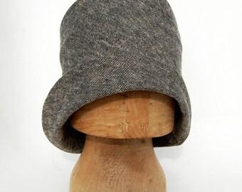 Womens tweed hat  womens spring hat  Womens fashion Hat Designer hat  Womens handmade hat  ZUTrenée cotton cloche hat in Italian fabric