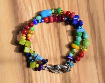 Multi Color Beaded Bracelet, Two Strand Beaded Bracelet, Adjustable Size Bracelet