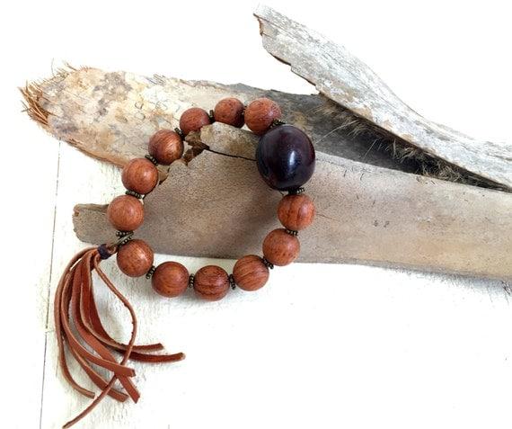 Bohemian Bracelet, Tassel Bracelet, Bohemian Jewelry, Wood Beaded Bracelet, Stretch Bracelet, Hippie Jewelry, Gypsy Jewelry