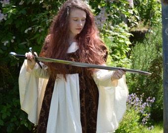 Handmade Pattern Brown and Cream Renaissance Court Gown